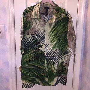 Claiborne Linen Camp Shirt XL Vintage
